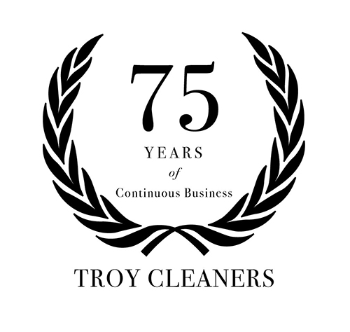 Graphic celebrating 75 years of continuous Troy Cleaners business